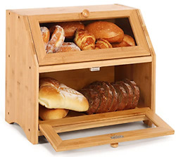 Bamboo Bread Box 2layer Bread Storage Bin Large Capacity Food Keeper For Kitchen