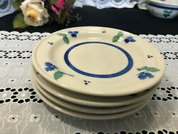 Set Of 4 Hartstone For Ll Bean Blueberry Salad Plates 7 1/2
