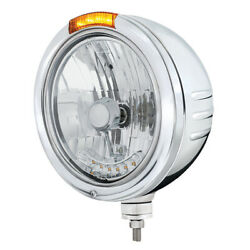 United Pacific 32760 - Stainless Steel Bullet Embossed Stripe Headlight H4 With