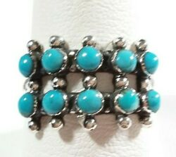925 Sterling Silver Beaded Southwest Style 10 Stones Turquoise Size 8 Ring