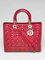 Christian Dior Red Cannage Quilted Patent Leather Large Lady Dior Bag