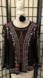 Nwt Orig. 88 Anthropologie Embroidered Wesley Top By One September Size Medium