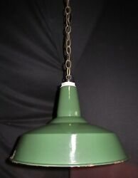 Vintage Industrial Green Shade Pendant Fixture Ceiling Light W/ Chain 1960's