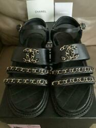 Auth Cc Logo Chain Ankle Strap Leather Sandals Black Size 36 Used F/s