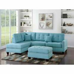 Polyfiber 3 Piece Sectional Set With Plush Cushion In Blue Blue Americana