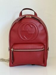 Brand New Soho Gg Logo Red Leather Backpack Chain Straps 536192