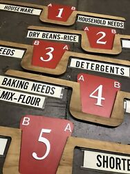 Five Grocery Store Aisle Marker Signs Vintage