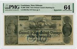 1800's 1000 The New Orleans Canal And Banking Co. - Louisiana Note Pmg Cu 64
