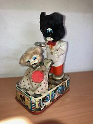 Line Mar Tin Litho Battery Operated Toy Barber Bear Vintage Made In Japan