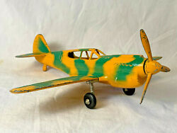 Hubley Vtg Camouflage Diecast Metal Fighter Military Toy Airplane Yellow Green
