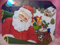 Russell Stover Santa And Sleigh Hinged Tin 10h102