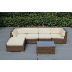Ohana Outdoor Patio 6 Piece Mixed Brown Wicker Sectional