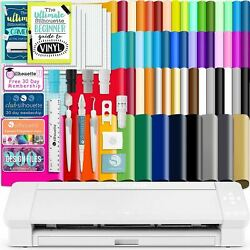 Silhouette White Cameo 4 Plus - 15 W/ 64 Oracal Vinyl Sheets Tools Guides