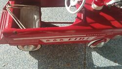 Vintage Used Red Metal Toy Fire Truck Ride On Pedal Car