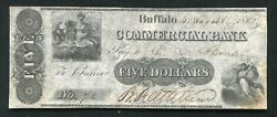 1835 5 Commercial Bank Buffalo New York Obsolete Currency Note Au/unc