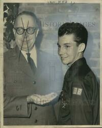 1963 Press Photo New Orleans Boy Scout Paul Gisclair Honored By Harry Maxfield