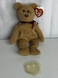 Ty Beanie Baby Curly The Bear With Brown Nose And Several Tag Errors 1993 1996