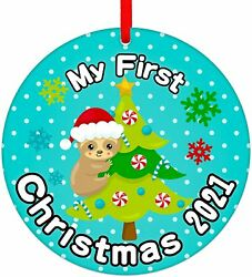 Baby First Christmas Ornament 2021my First Baby Ornament Cute Baby_s Sloth Chr
