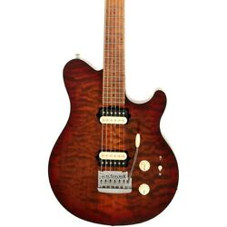 Ernie Ball Music Man Axis Super Sport Quilt Top Electric Guitar Roasted Amber