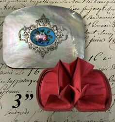Antique French Kiln-fired Enamel Silver Mother Of Pearl Coin Purse Napoleon 3