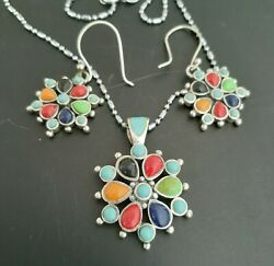 Vintage Sterling Silver Turquoise Coral Lapis Onyx Stones Earrings Pendant Set