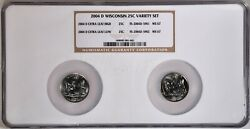 2004-d 25c Wisconsin Extra Leaf High And Low Variety Set Ngc Ms67 5-001-002