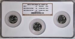 2004-d 25c Wi Extra Leaf High, Low And Wi Variety Set Ngc Ms66 5-235-237