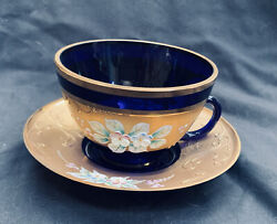 Vintage Moser Cobalt Blue Teacup And Saucer Gold Texture Hand Painted Flowers