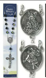 Catholic Rosary Auto Rear View Mirror Saint Christopher And Guardian Angel Black