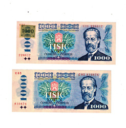 Two Czech Republic 1993 1000 Korun With Stamp And Without Stamp