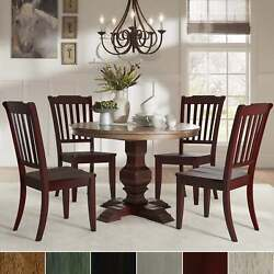 Eleanor Red Round Solid Wood Top 5-piece Dining Set - Slat