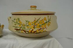 Vintage Italian Pottery Soup Tureen With 6 Matching Bowls Hand Painted