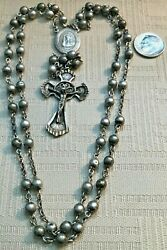 Vintage Sterling Silver Ss Rosary W 59 Ss Round Smooth Beads 23.9 G