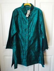 Chicos Size 3 Womens Size Xl Teal Button Front 100 Silk Shirt Blouse Nwt