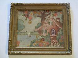 Antique Ornatie Frame 19th Century With Antique Embroidery Cottage Nautical Rare