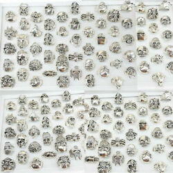 Wholesale Lots Gothic Punk Skull Antique Rings Mixed Style Jewelry Club 25/50pcs
