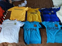 Lot Of 6-futbol/soccer Messi Argentina ⚽barcelona Youth Jersey Med And Large