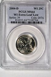 2004-d 25c Wisconsin Extra Leaf Low State Quarter Pcgs Ms64 764
