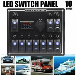 Ac/dc Dual Power 10 Gang Rocker Switch Led Control Toggle Panel For Boat Marine