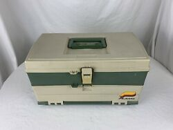 Vintage Plano 707 Tackle Box Tan And Green 2 Drawers With Handle Made In Usa