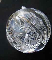 Vintage Bohemian Crystal Paperweight Oil Lamp Heavy Glass Ball Sphere 9 14/16