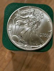 One Roll Tube Of 20 Uncirculated1989 Silver Eagle Coins 1 Oz .999 Silver
