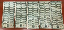 Lot Of 65 - Series 1953 And 1963 Red Seal 2 Two Dollars Us Notes 1