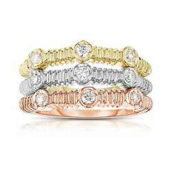 Noray Designs 14k Tricolor Gold 2/5ct Tdw Diamond Stackable White G-h 7.5