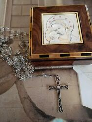 Vintage 925 Sterling Silver Crystal Rosary And Box With 925 Inlay Beautiful.