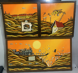 Disney Artist Don Aceto 70andrsquos Original Oil 3 Piece Learn To Fly Artist Signed