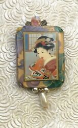Vintage Artist Signed Paper Mache Japanese Lady Brooch Pin