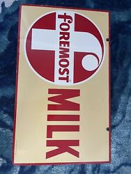 Vintage 50's Foremost Milk Dairy Sign Unfindable Rare