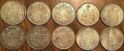 Lot Of 10 Canada Silver 50 Cents Coins - Silver Invest Lot A4