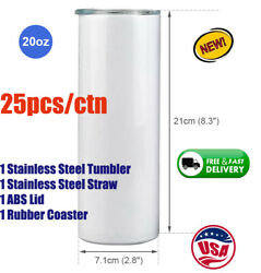 25/ctn 20oz Sublimation Skinny Tumbler Insulated Water Bottle With Lid And Straw